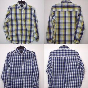 Nautica boys plaid button front shirts Sz L